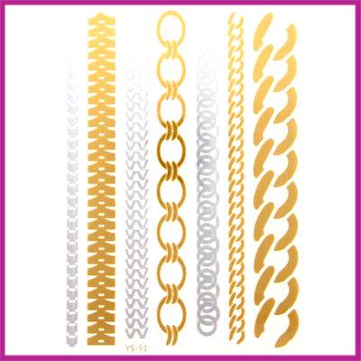 Boho Flash Tattoo goud - zilver schakel armbandjes