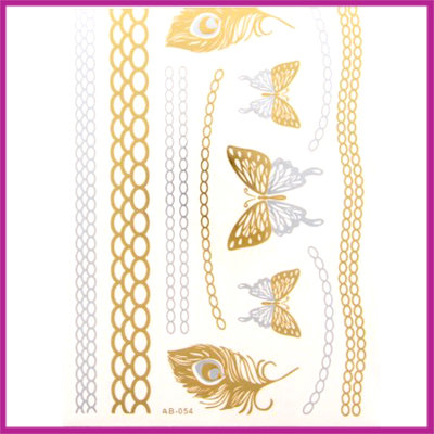Boho Flash Tattoo goud - zilver vlinder/veer