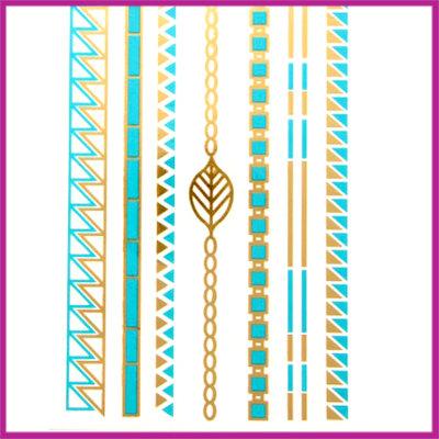 Boho Flash Tattoo goud - turquoise hippe armbandjes