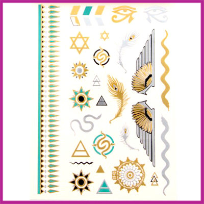 Boho Flash Tattoo goud - zilver - turquoise - blauw Egypt