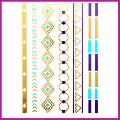 Boho Flash Tattoo goud - blauw - turquoise armbandjes