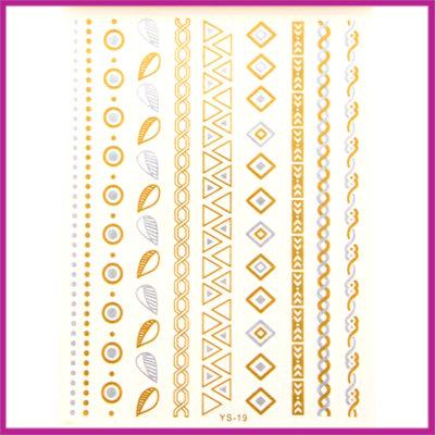 Boho Flash Tattoo goud - zilver hippe armbandjes
