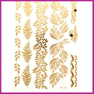 Boho Flash Tattoo goud - zilver takken & blaadjes