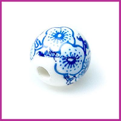 Keramiek kraal blauwe bloemen groot