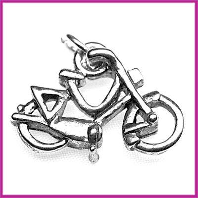 Metaal bedel/hanger fiets antiek zilver