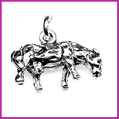 Metaal bedel/hanger koe antiek zilver