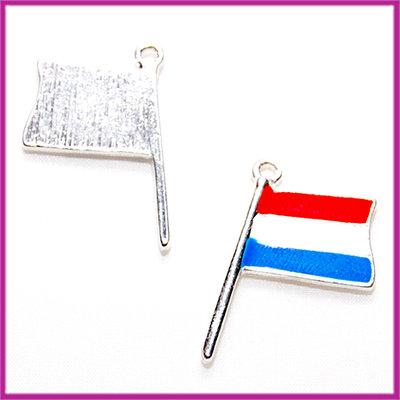 Metaal hanger Nederlandse vlag epoxy rood/wit/blauw Antiek zilver