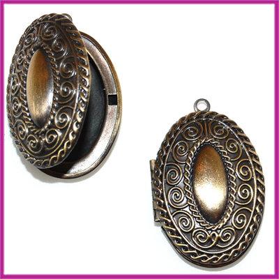 Metalen hanger medaillon ovaal bewerkt brons