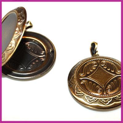 Metalen hanger medaillon rond bewerkt brons MAG