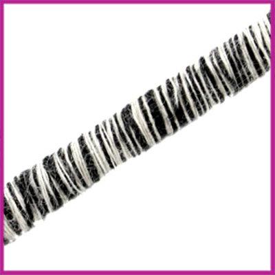 Knitt koord 5mm Zwart wit per 10cm