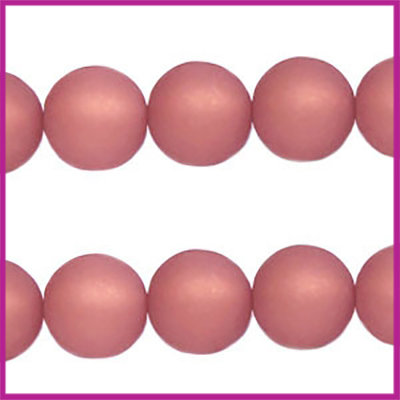 Polaris kraal matt rond 8mm Antique Pink