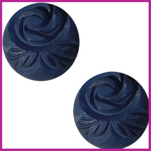 Polaris cabuchon 20mm carved rose matt Denim blue