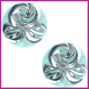 Polaris cabuchon 20mm carved rose Turquoise groen silver