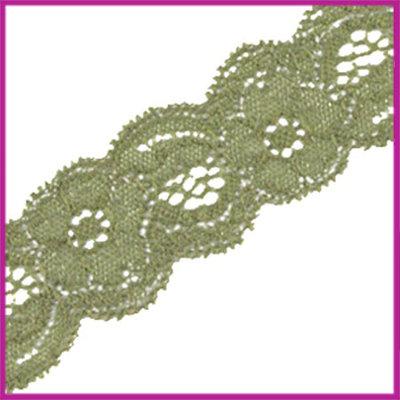 Ibiza elastisch lint van kant 30mm Olive green