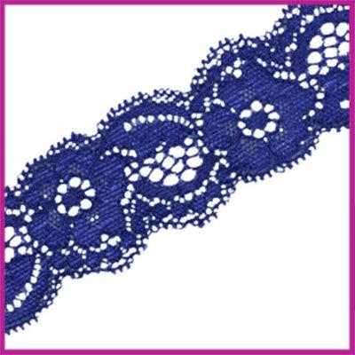 Ibiza elastisch lint van kant 30mm Cobalt blauw