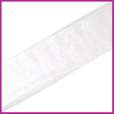 Ibiza elastisch lint 30mm Metallic zilver wit