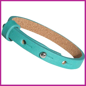 Cuoio armband leer voor cabuchon 12mm Blue grass