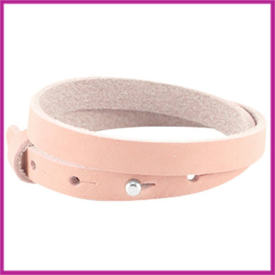 LC armband leer 10mm dubbel light coral pink