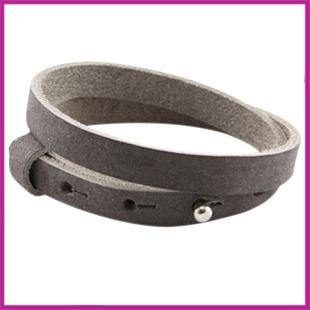 LC armband leer 10mm dubbel Donker grijs