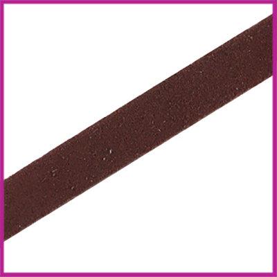 Lovi DQ leer suede plat 10mm Donker bruin ca. 22,5cm
