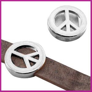 Lovi DQ metaal schuiver Peace 18mm Antiek zilver