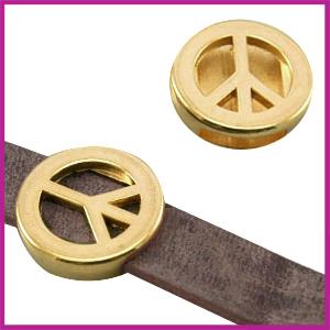 Lovi DQ metaal schuiver Peace 18mm Goud