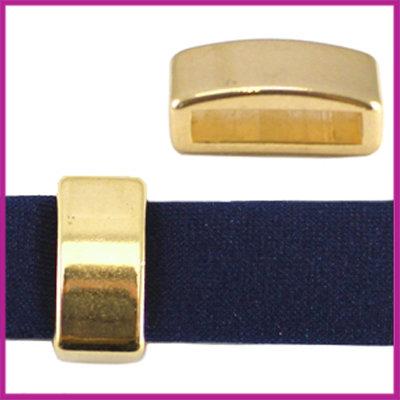 DQ metaal schuiver 12mm (voor leren ring) Goud