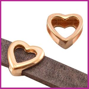 Lovi DQ metaal schuiver hart 14x13mm Rosegold