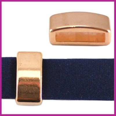 DQ metaal schuiver 12mm (voor leren ring) Rosegold