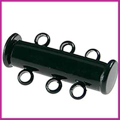 Magnetisch schuifslot met 3 oogjes 20x10mm Zwart