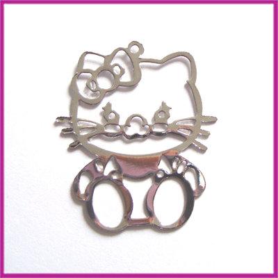 Metaal bedel Hello Kitty dun filigraan 35x30mm zilver