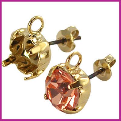 DQ oorsteker met oog voor puntsteen SS29 Gold plated