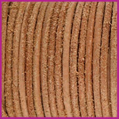 DQ leer rond 2 mm Copper brown-vintage finish per 50cm
