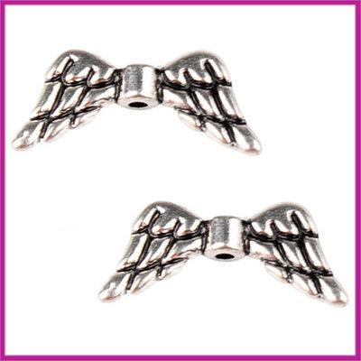 Metaal kraal engel vleugeltjes 19x8mm antiek zilver