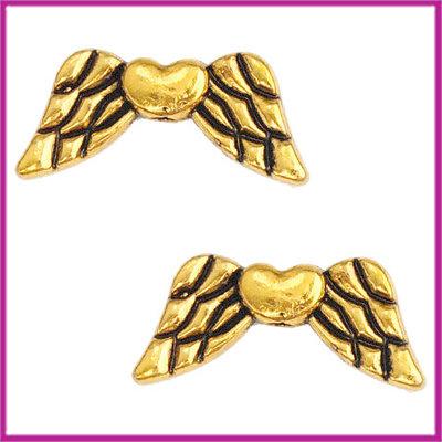 Metaal kraal engel vleugeltjes met hartje 19x8mm antiek goud