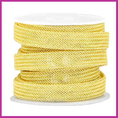 DQ metaal net koord 10x2mm Geel goud per 10cm
