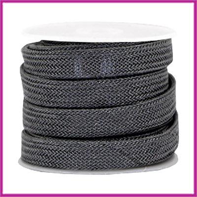 DQ metaal net koord 10x2mm Zilver antraciet per 10cm