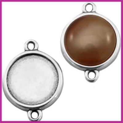 DQ metaal setting 2 ogen voor 20mm cabochon Antiek zilver