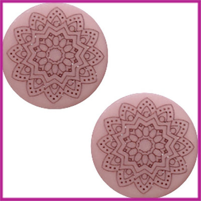 Cabochon Polaris plat 12mm Mandala print matt Bridal rose