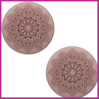 Cabochon Polaris plat 12mm Mandala print matt Greige