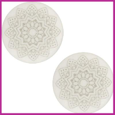 Cabochon Polaris plat 12mm Mandala print matt Light silver shade