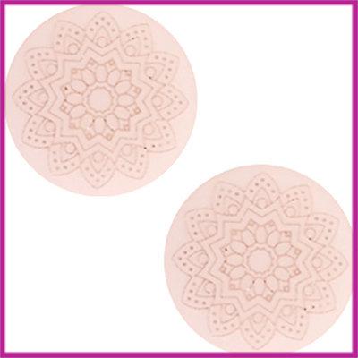 Cabochon Polaris plat 20mm Mandala print matt Powder pink