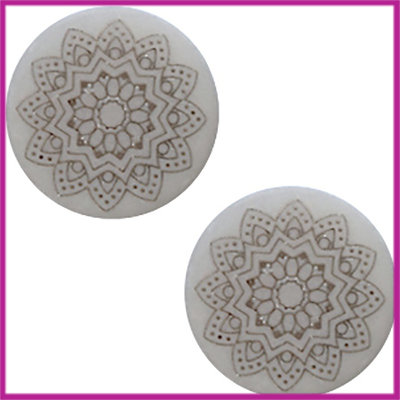 Cabochon Polaris plat 20mm Mandala print matt Ice grey