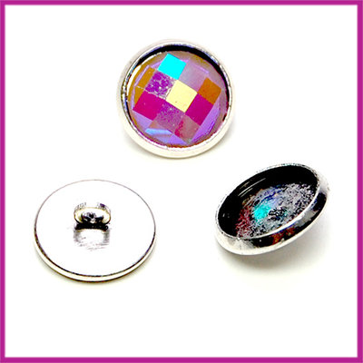 Metalen knoopje setting Ø12mm antiek zilver