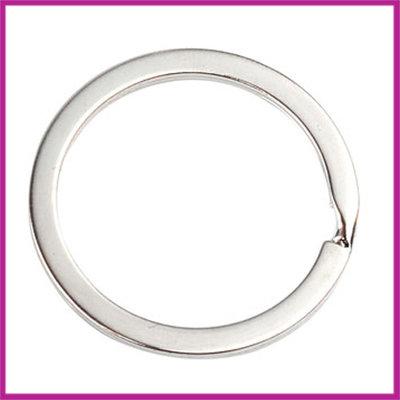 Sleutelhanger ring plat Ø32mm Antiek zilver