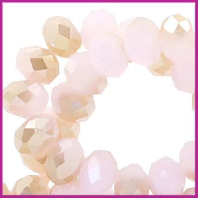 Glaskraal top facet disc 4x3mm Rose alabaster half champagne gold diamond