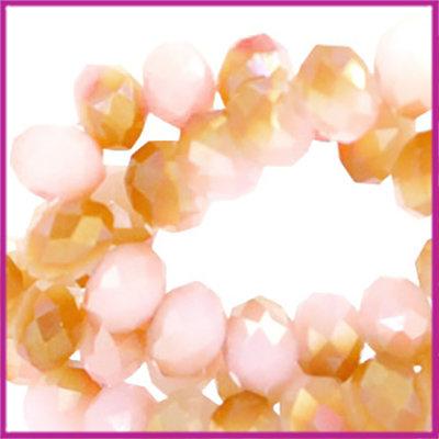 Glaskraal top facet disc 4x3mm Rose alabaster half rosegold diamond