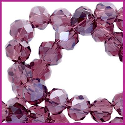 Glaskraal top facet disc 4x3mm Vintage violet pearl diamond