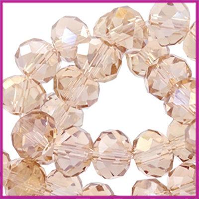 Glaskraal top facet disc 4x3mm Vintage champagne rose diamond
