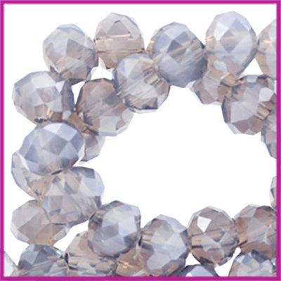 Glaskraal top facet disc 4x3mm Blue shade topaz opal pearl diamond